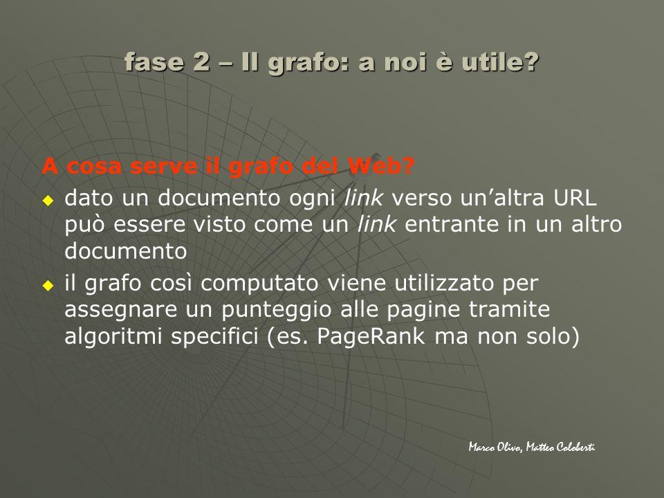 fase 2 – Il grafo: a noi è utile? A cosa serve il grafo del Web? dato un documento ogni link verso unaltra URL può essere visto come un link entrante