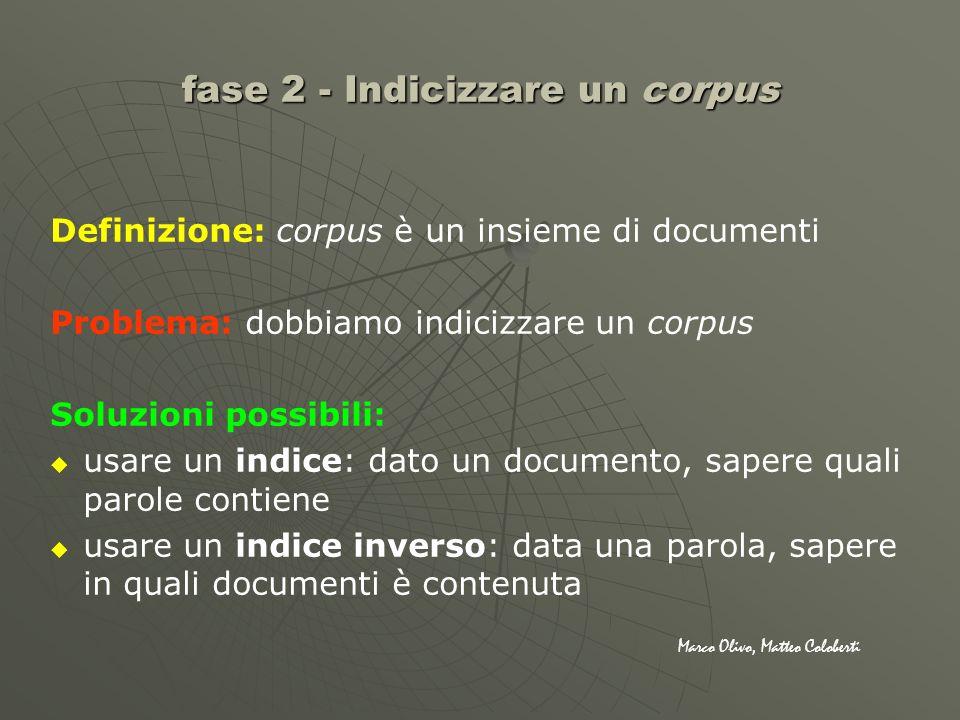 Definizione: corpus è un insieme di documenti Problema: dobbiamo indicizzare un corpus Soluzioni possibili: usare un indice: dato un documento, sapere