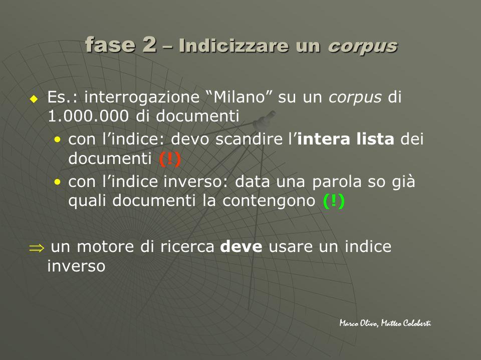 fase 2 – Indicizzare un corpus Es.: interrogazione Milano su un corpus di 1.000.000 di documenti con lindice: devo scandire lintera lista dei document