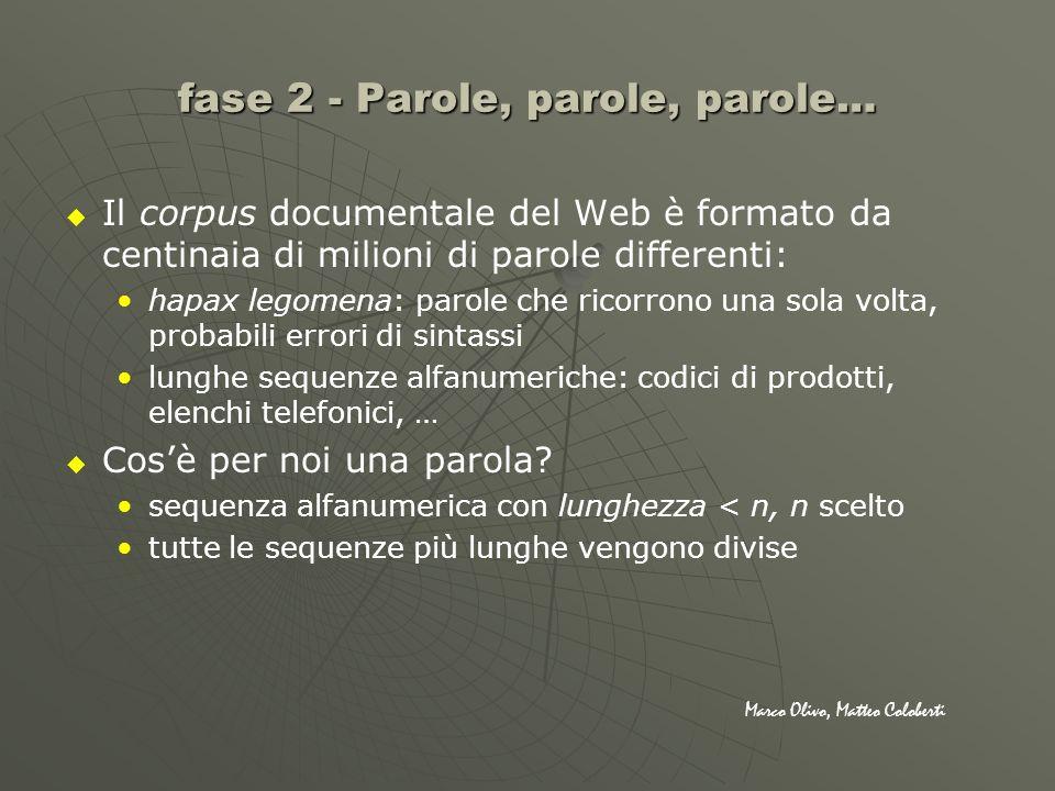 fase 2 - Parole, parole, parole… Il corpus documentale del Web è formato da centinaia di milioni di parole differenti: hapax legomena: parole che rico