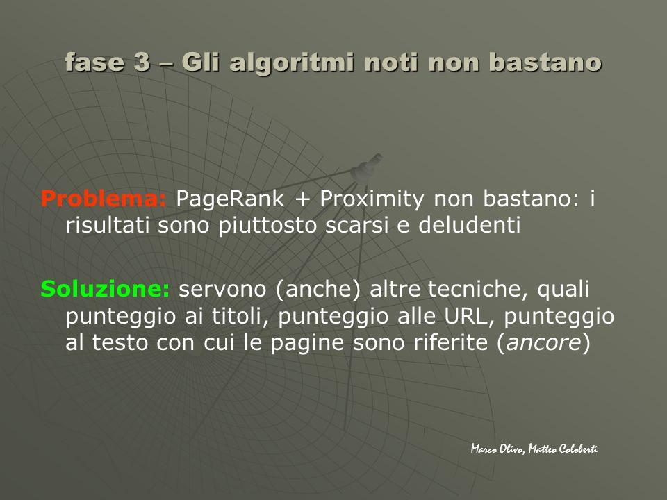fase 3 – Gli algoritmi noti non bastano Problema: PageRank + Proximity non bastano: i risultati sono piuttosto scarsi e deludenti Soluzione: servono (