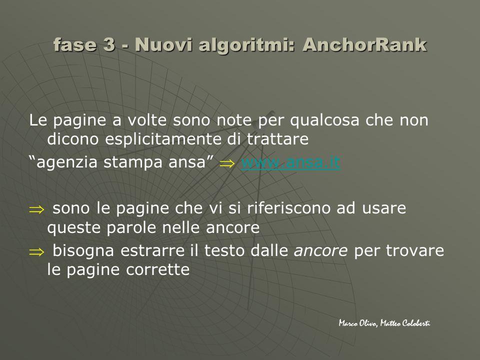 fase 3 - Nuovi algoritmi: AnchorRank Le pagine a volte sono note per qualcosa che non dicono esplicitamente di trattare agenzia stampa ansa www.ansa.i