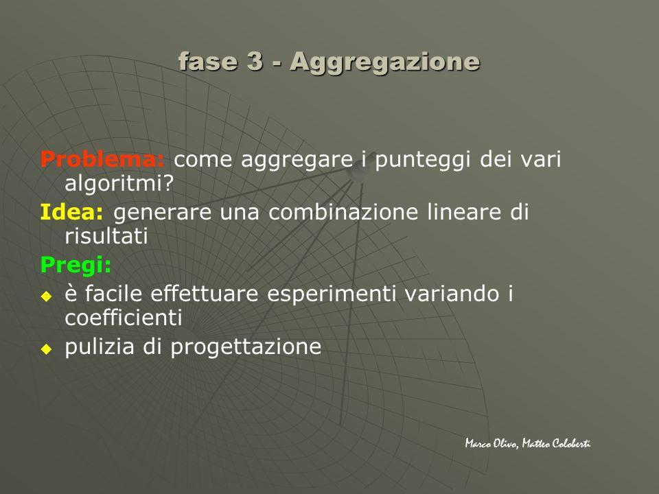 fase 3 - Aggregazione Problema: come aggregare i punteggi dei vari algoritmi? Idea: generare una combinazione lineare di risultati Pregi: è facile eff