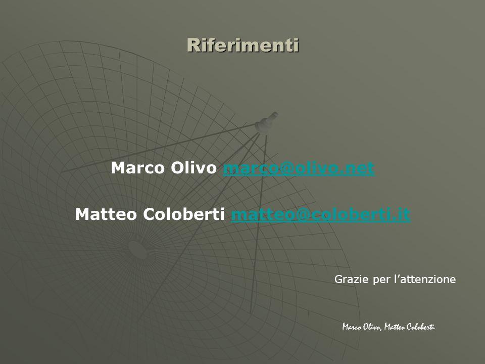Riferimenti Marco Olivo marco@olivo.netmarco@olivo.net Matteo Coloberti matteo@coloberti.itmatteo@coloberti.it Grazie per lattenzione Marco Olivo, Mat