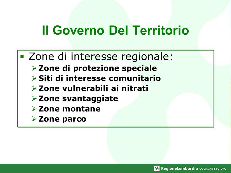 Il Governo Del Territorio Zone di interesse regionale: Zone di protezione speciale Siti di interesse comunitario Zone vulnerabili ai nitrati Zone svan