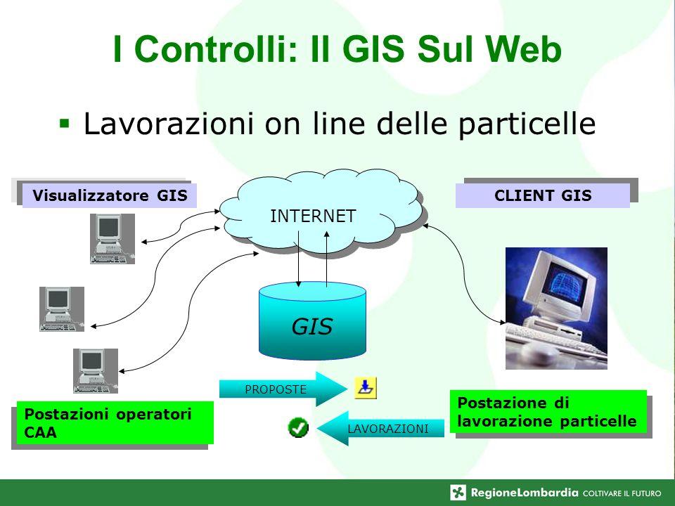 I Controlli: Il GIS Sul Web Lavorazioni on line delle particelle GIS Postazioni operatori CAA PROPOSTE LAVORAZIONI Postazione di lavorazione particell