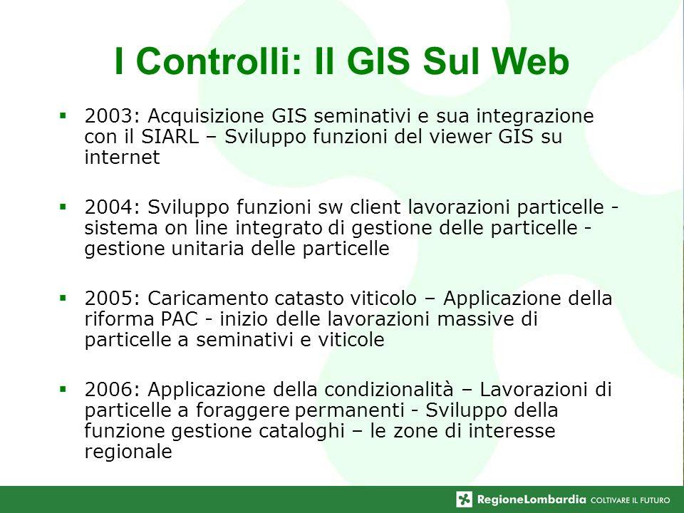 I Controlli: Il GIS Sul Web 2003: Acquisizione GIS seminativi e sua integrazione con il SIARL – Sviluppo funzioni del viewer GIS su internet 2004: Svi