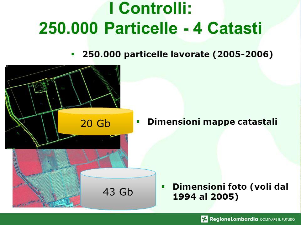 I Controlli: 250.000 Particelle - 4 Catasti Dimensioni mappe catastali 43 Gb Dimensioni foto (voli dal 1994 al 2005) 20 Gb 250.000 particelle lavorate