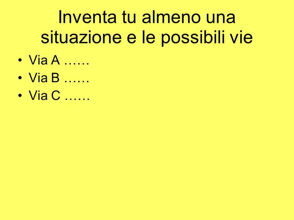 Inventa tu almeno una situazione e le possibili vie Via A …… Via B …… Via C ……