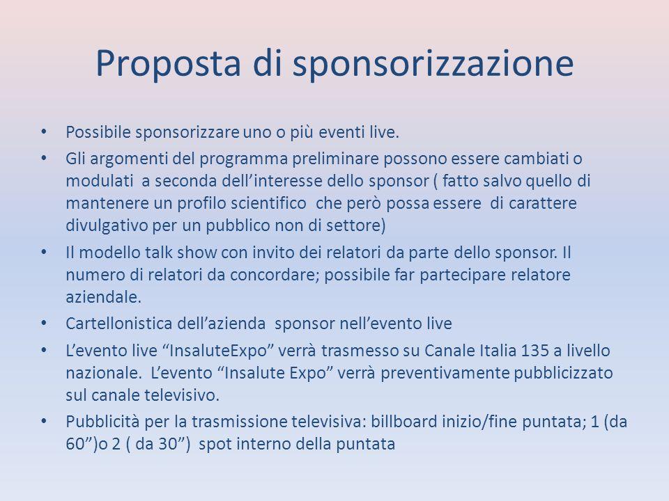 Proposta di sponsorizzazione Possibile sponsorizzare uno o più eventi live.