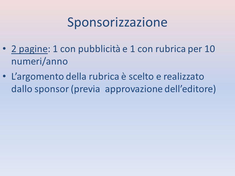 Sponsorizzazione 2 pagine: 1 con pubblicità e 1 con rubrica per 10 numeri/anno Largomento della rubrica è scelto e realizzato dallo sponsor (previa approvazione delleditore)