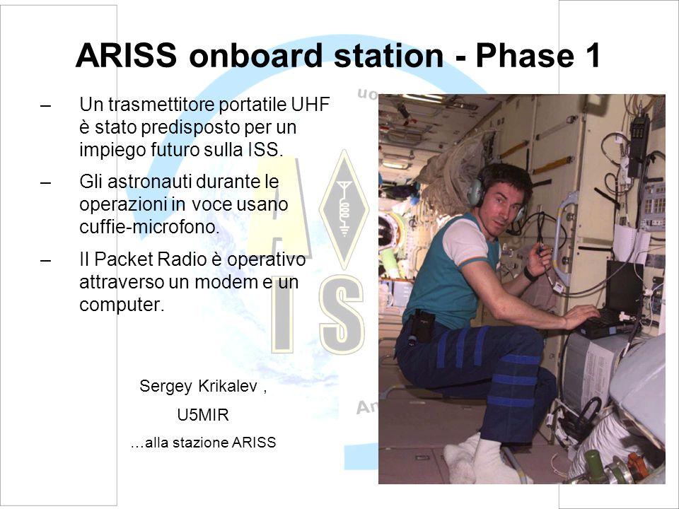 ARISS onboard station - Phase 1 –Un trasmettitore portatile UHF è stato predisposto per un impiego futuro sulla ISS.