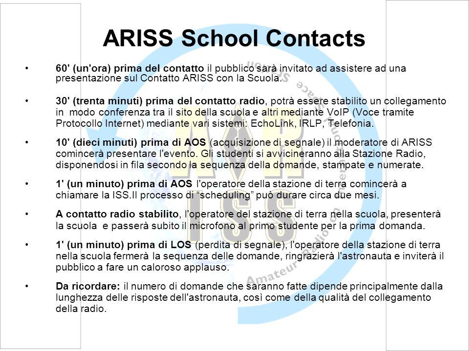 60 (un ora) prima del contatto il pubblico sarà invitato ad assistere ad una presentazione sul Contatto ARISS con la Scuola.