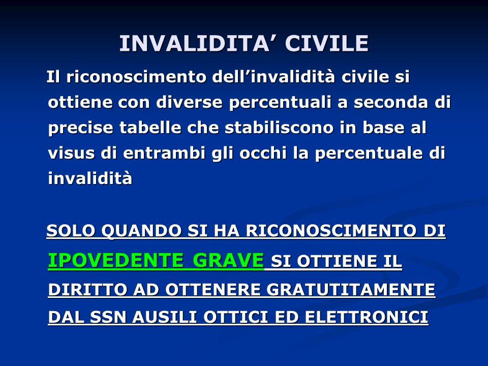 INVALIDITA CIVILE Il riconoscimento dellinvalidità civile si ottiene con diverse percentuali a seconda di precise tabelle che stabiliscono in base al