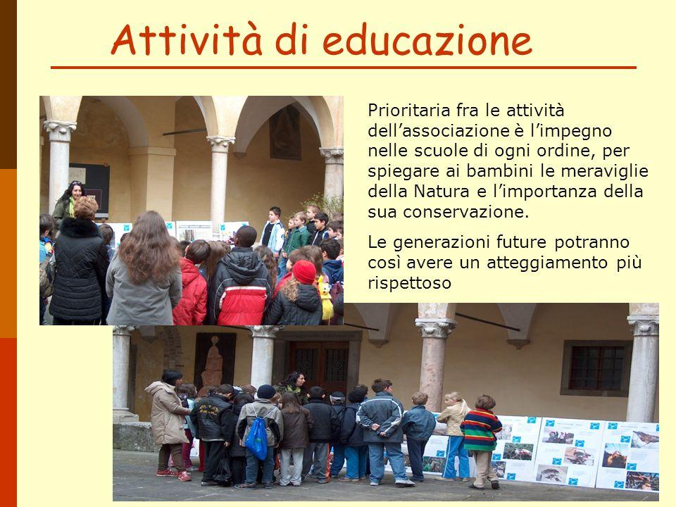 Attività di educazione Prioritaria fra le attività dellassociazione è limpegno nelle scuole di ogni ordine, per spiegare ai bambini le meraviglie dell