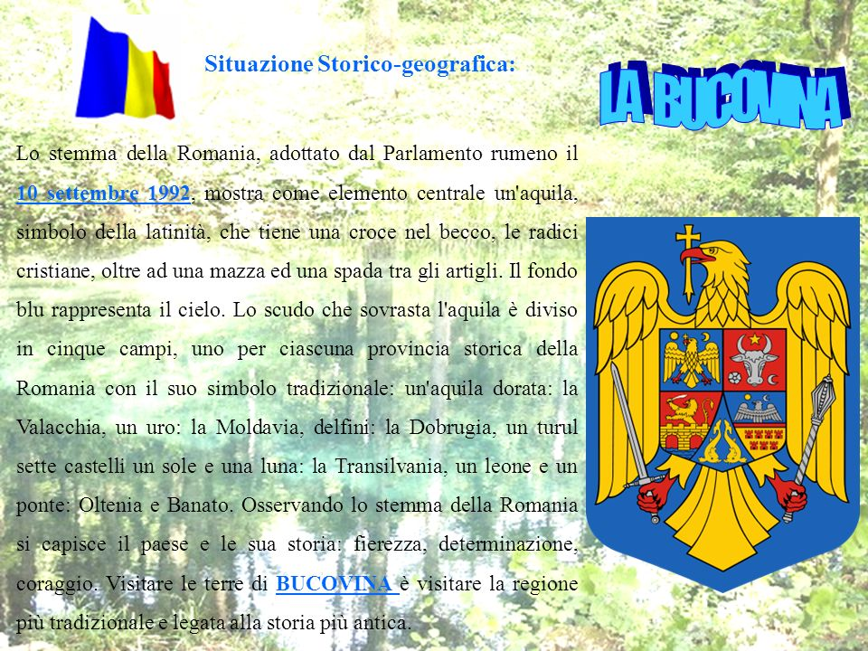 Lo stemma della Romania, adottato dal Parlamento rumeno il 10 settembre 1992, mostra come elemento centrale un'aquila, simbolo della latinità, che tie