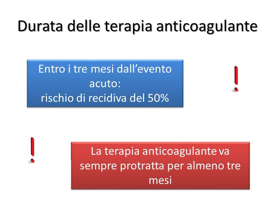 Entro i tre mesi dallevento acuto: rischio di recidiva del 50% Entro i tre mesi dallevento acuto: rischio di recidiva del 50% La terapia anticoagulant