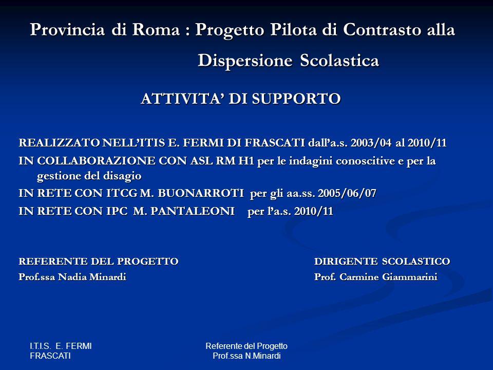 I.T.I.S. E. FERMI FRASCATI Referente del Progetto Prof.ssa N.Minardi Provincia di Roma : Progetto Pilota di Contrasto alla Dispersione Scolastica ATTI