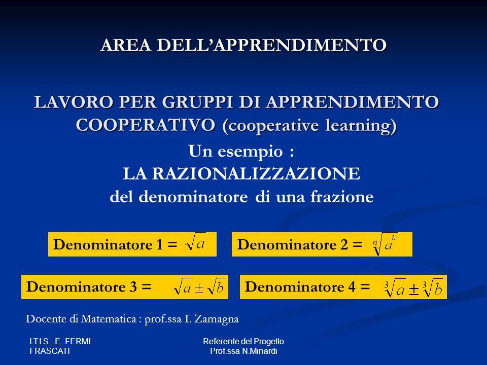 I.T.I.S. E. FERMI FRASCATI Referente del Progetto Prof.ssa N.Minardi LAVORO PER GRUPPI DI APPRENDIMENTO COOPERATIVO (cooperative learning) AREA DELLAP