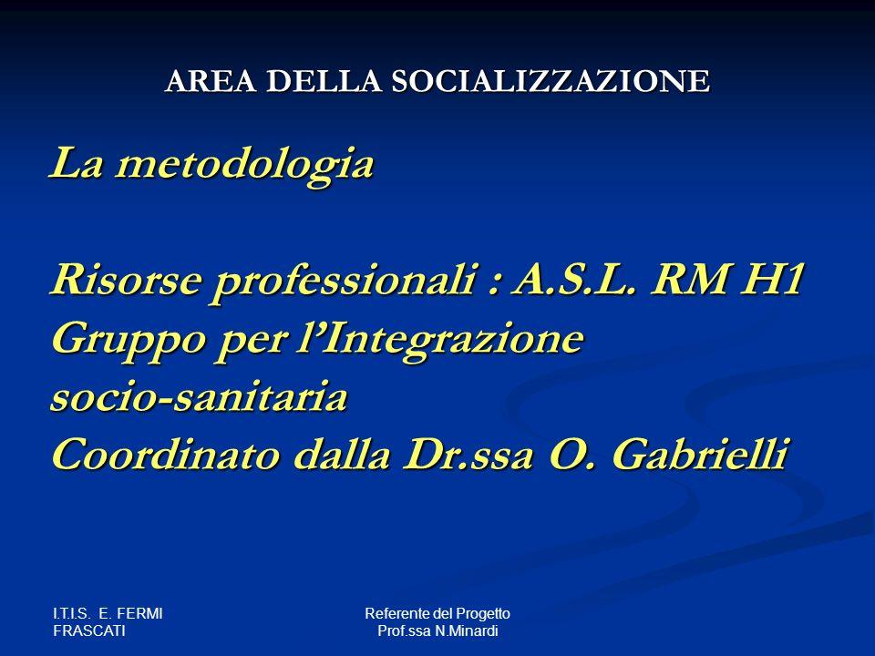 I.T.I.S. E. FERMI FRASCATI Referente del Progetto Prof.ssa N.Minardi La metodologia Risorse professionali : A.S.L. RM H1 Gruppo per lIntegrazione soci