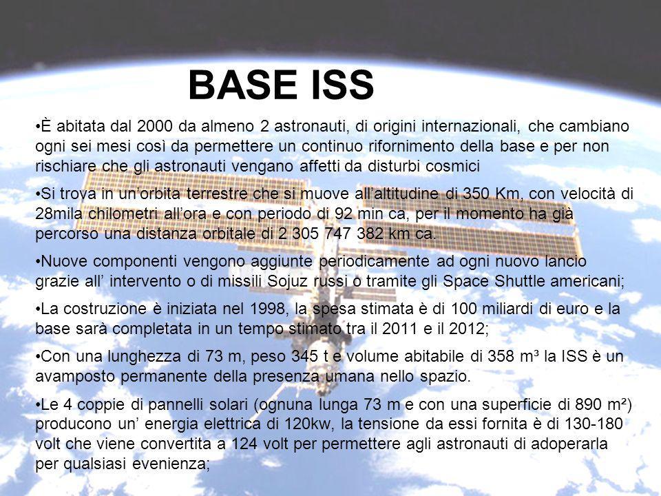 BASE ISS È abitata dal 2000 da almeno 2 astronauti, di origini internazionali, che cambiano ogni sei mesi così da permettere un continuo rifornimento della base e per non rischiare che gli astronauti vengano affetti da disturbi cosmici Si trova in unorbita terrestre che si muove allaltitudine di 350 Km, con velocità di 28mila chilometri allora e con periodo di 92 min ca, per il momento ha già percorso una distanza orbitale di 2 305 747 382 km ca.