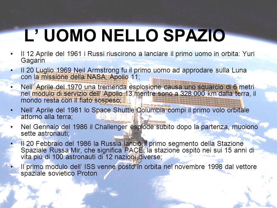L UOMO NELLO SPAZIO Il 12 Aprile del 1961 i Russi riuscirono a lanciare il primo uomo in orbita: Yuri Gagarin Il 20 Luglio 1969 Neil Armstrong fu il primo uomo ad approdare sulla Luna con la missione della NASA, Apollo 11; Nell Aprile del 1970 una tremenda esplosione causa uno squarcio di 6 metri nel modulo di servizio dell Apollo 13,mentre sono a 328.000 km dalla terra, il mondo resta con il fiato sospeso; Nell Aprile del 1981 lo Space Shuttle Columbia compi il primo volo orbitale attorno alla terra; Nel Gennaio del 1986 il Challenger esplode subito dopo la partenza, muoiono sette astronauti; Il 20 Febbraio del 1986 la Russia lanciò il primo segmento della Stazione Spaziale Russa Mir, che significa PACE; la stazione ospitò nei sui 15 anni di vita più di 100 astronauti di 12 nazioni diverse; Il primo modulo dell ISS venne posto in orbita nel novembre 1998 dal vettore spaziale sovietico Proton