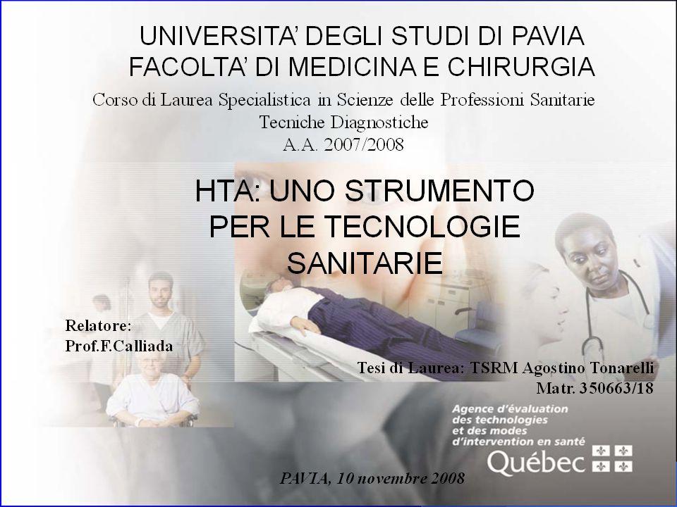 HTA HTA LAcronimo HTA: Health = salute Technology = tecnica, procedura, struttura Assessment = valutazione