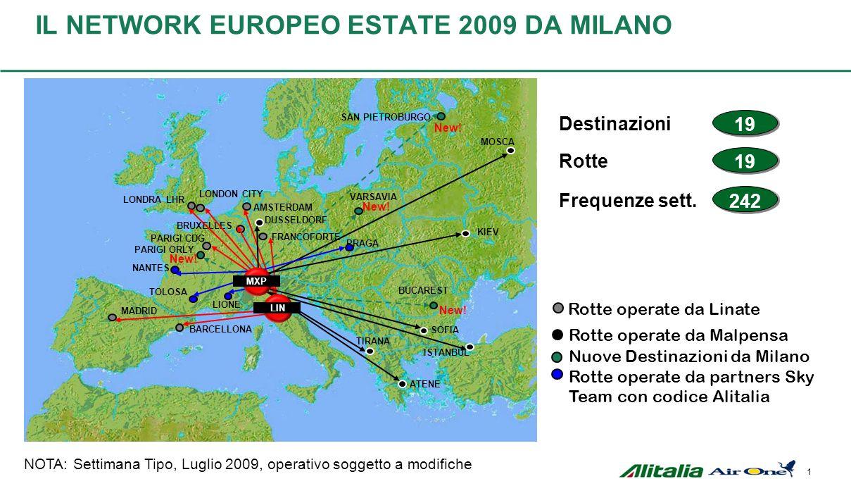 1 IL NETWORK EUROPEO ESTATE 2009 DA MILANO Rotte operate da Malpensa Rotte operate da Linate MADRID BARCELLONA BRUXELLES LONDRA LHR PARIGI CDG AMSTERD