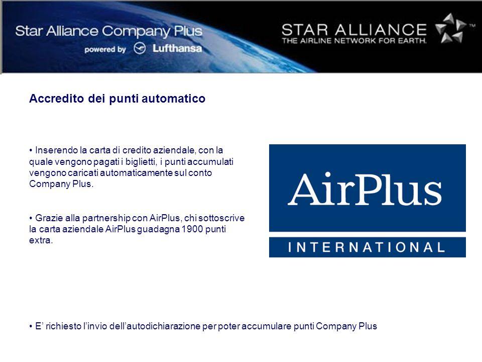 Accredito dei punti automatico Inserendo la carta di credito aziendale, con la quale vengono pagati i biglietti, i punti accumulati vengono caricati automaticamente sul conto Company Plus.