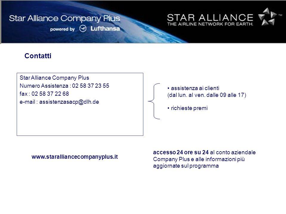 Contatti Star Alliance Company Plus Numero Assistenza : 02 58 37 23 55 fax : 02 58 37 22 68 e-mail : assistenzasacp@dlh.de assistenza ai clienti (dal