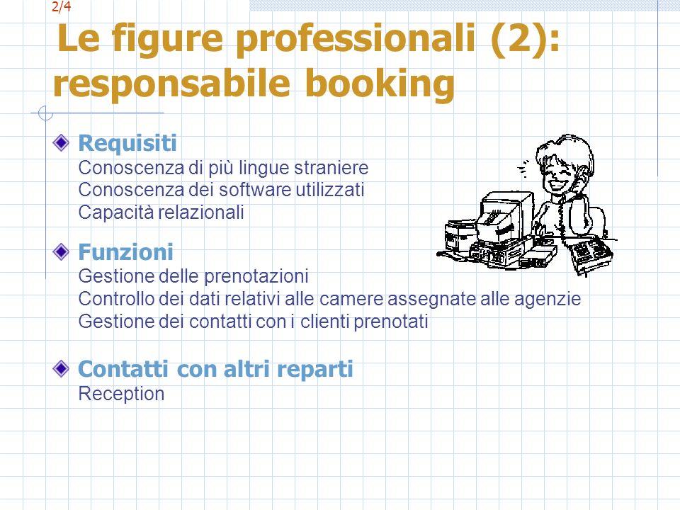 2/4 Le figure professionali (2): responsabile booking Requisiti Conoscenza di più lingue straniere Conoscenza dei software utilizzati Capacità relazio