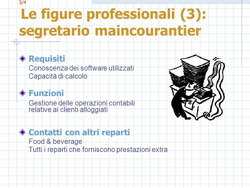 3/4 Le figure professionali (3): segretario maincourantier Requisiti Conoscenza dei software utilizzati Capacità di calcolo Funzioni Gestione delle op