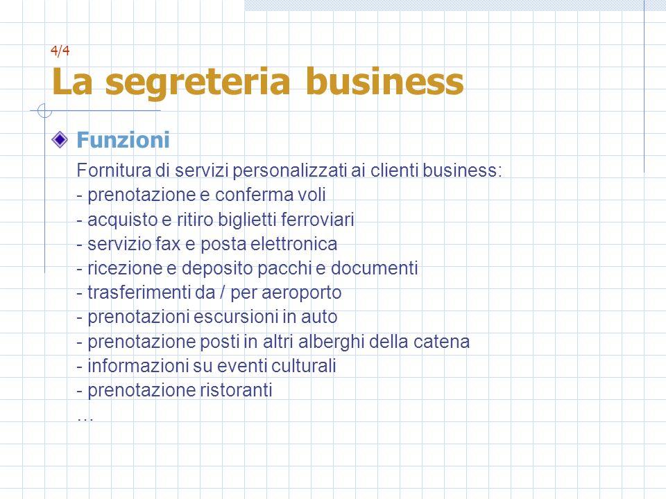 4/4 La segreteria business Funzioni Fornitura di servizi personalizzati ai clienti business: - prenotazione e conferma voli - acquisto e ritiro biglie