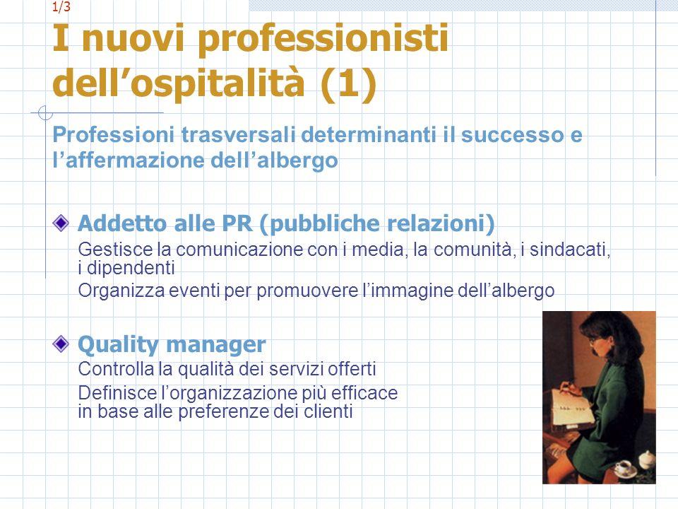 1/3 I nuovi professionisti dellospitalità (1) Professioni trasversali determinanti il successo e laffermazione dellalbergo Addetto alle PR (pubbliche