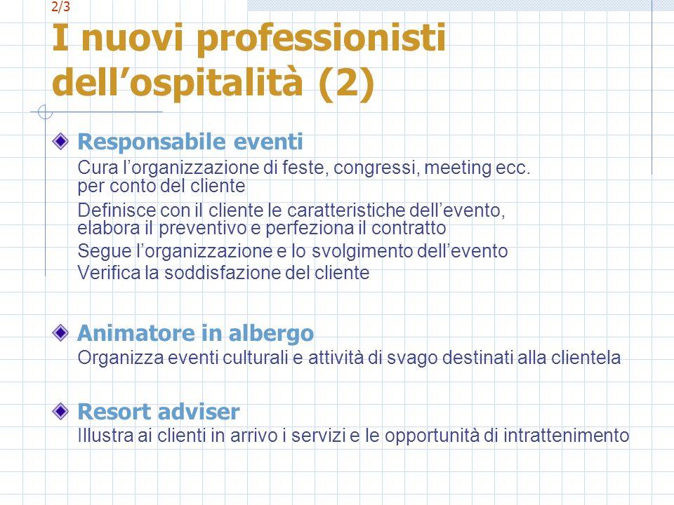 2/3 I nuovi professionisti dellospitalità (2) Responsabile eventi Cura lorganizzazione di feste, congressi, meeting ecc. per conto del cliente Definis