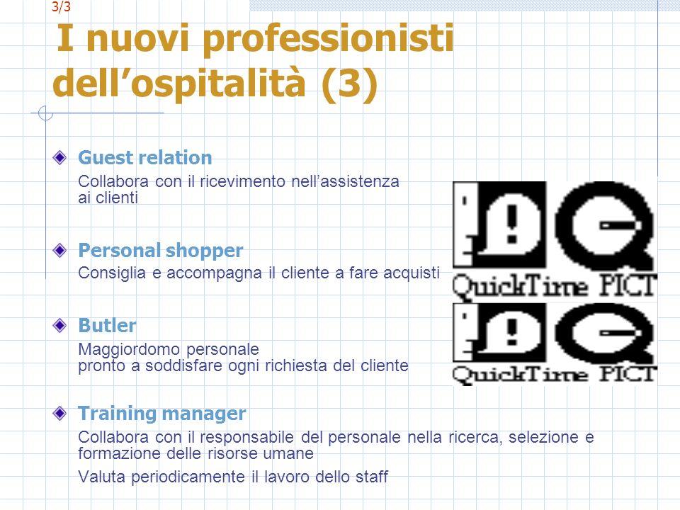 3/3 I nuovi professionisti dellospitalità (3) Guest relation Collabora con il ricevimento nellassistenza ai clienti Personal shopper Consiglia e accom