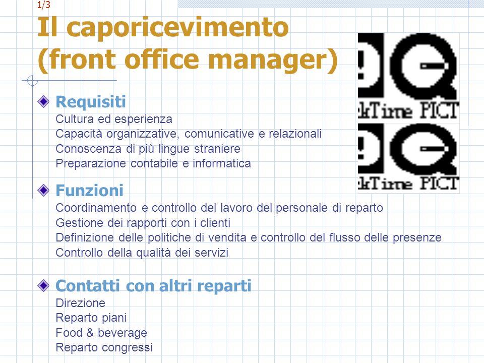1/3 Il caporicevimento (front office manager) Requisiti Cultura ed esperienza Capacità organizzative, comunicative e relazionali Conoscenza di più lin