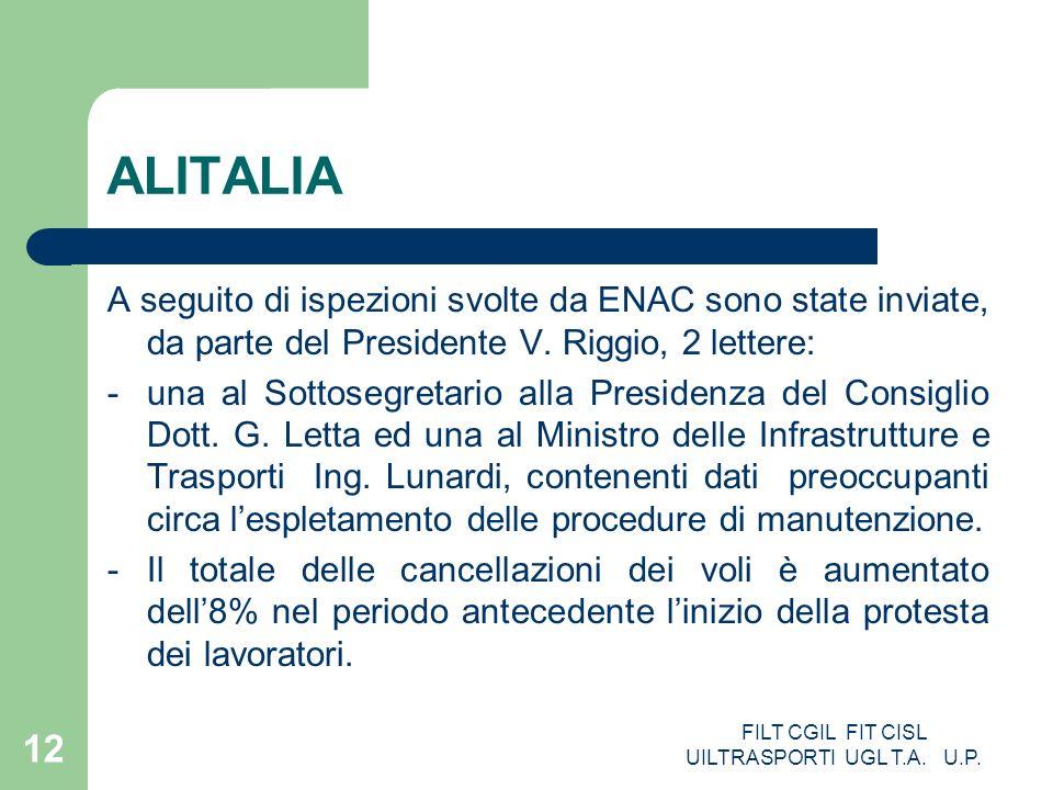 FILT CGIL FIT CISL UILTRASPORTI UGL T.A. U.P. 12 ALITALIA A seguito di ispezioni svolte da ENAC sono state inviate, da parte del Presidente V. Riggio,