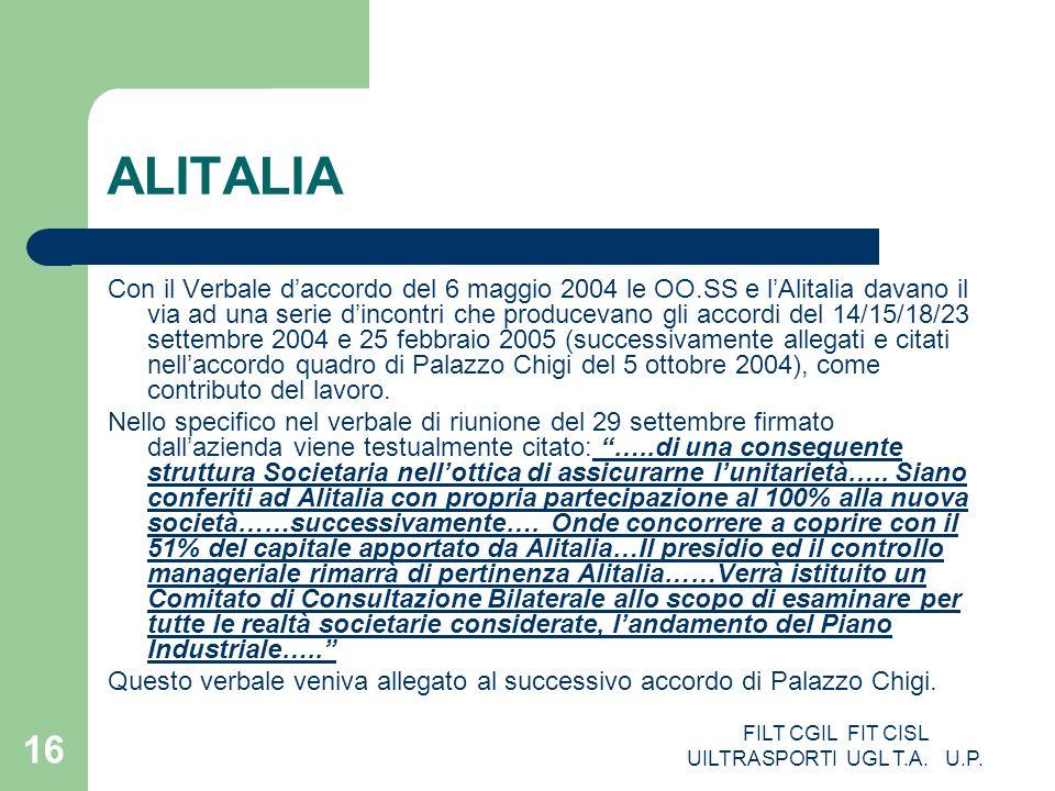FILT CGIL FIT CISL UILTRASPORTI UGL T.A. U.P. 16 ALITALIA Con il Verbale daccordo del 6 maggio 2004 le OO.SS e lAlitalia davano il via ad una serie di