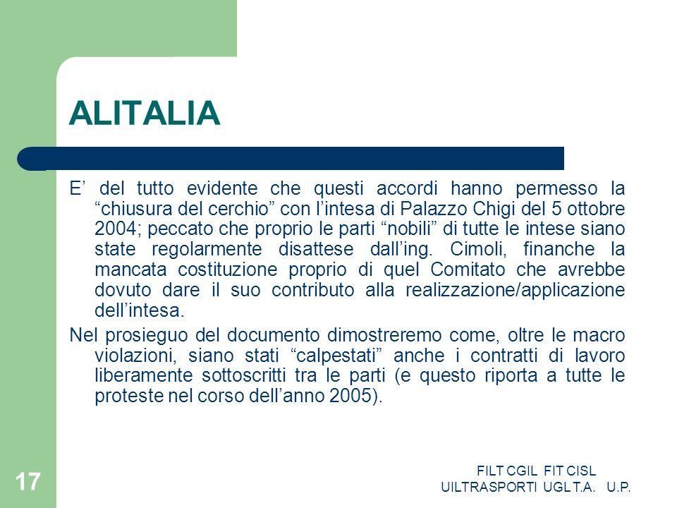 FILT CGIL FIT CISL UILTRASPORTI UGL T.A. U.P. 17 ALITALIA E del tutto evidente che questi accordi hanno permesso la chiusura del cerchio con lintesa d