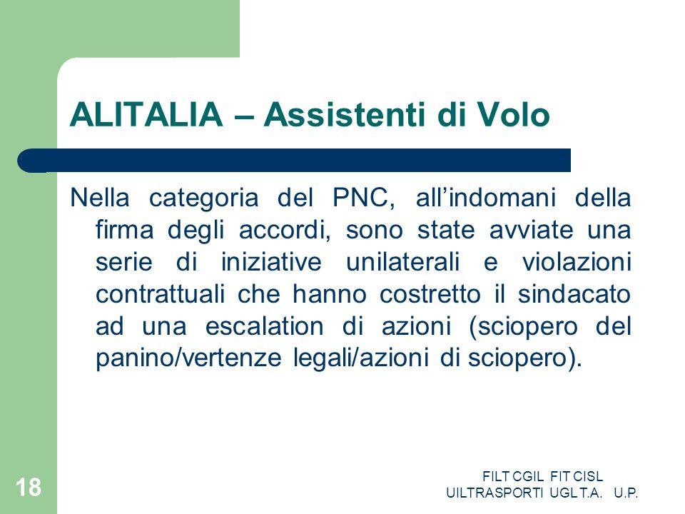 FILT CGIL FIT CISL UILTRASPORTI UGL T.A. U.P. 18 ALITALIA – Assistenti di Volo Nella categoria del PNC, allindomani della firma degli accordi, sono st