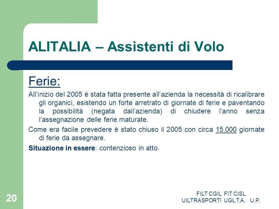 FILT CGIL FIT CISL UILTRASPORTI UGL T.A. U.P. 20 ALITALIA – Assistenti di Volo Ferie: Allinizio del 2005 è stata fatta presente allazienda la necessit