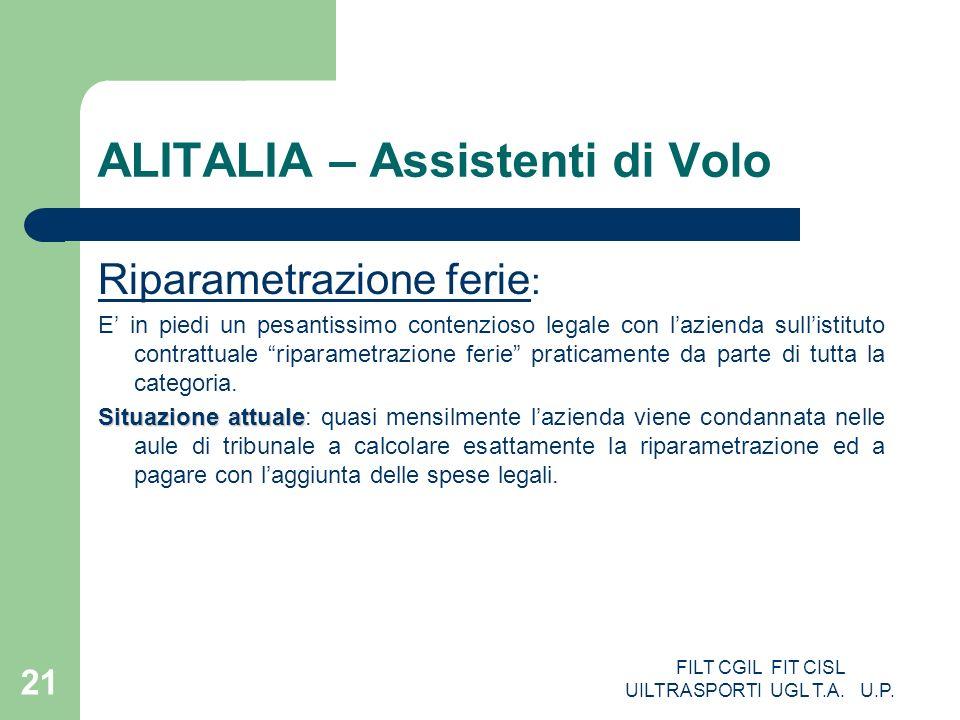 FILT CGIL FIT CISL UILTRASPORTI UGL T.A. U.P. 21 ALITALIA – Assistenti di Volo Riparametrazione ferie : E in piedi un pesantissimo contenzioso legale