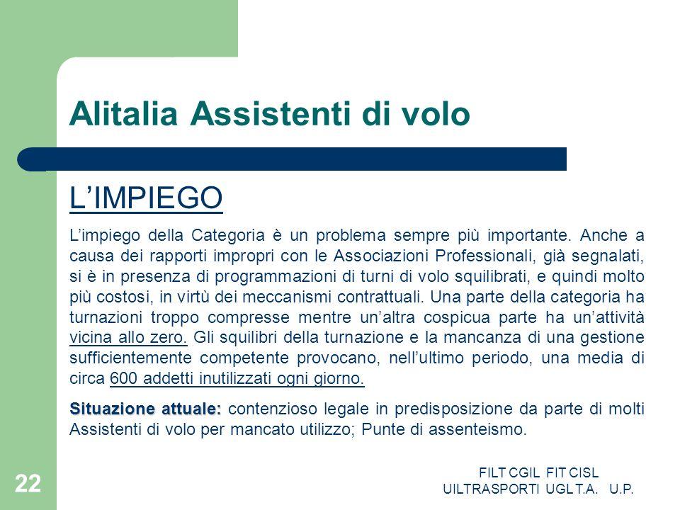 FILT CGIL FIT CISL UILTRASPORTI UGL T.A. U.P. 22 Alitalia Assistenti di volo LIMPIEGO Limpiego della Categoria è un problema sempre più importante. An
