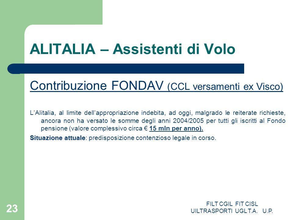 FILT CGIL FIT CISL UILTRASPORTI UGL T.A. U.P. 23 ALITALIA – Assistenti di Volo Contribuzione FONDAV (CCL versamenti ex Visco) LAlitalia, al limite del
