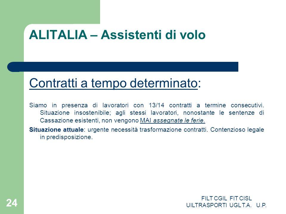 FILT CGIL FIT CISL UILTRASPORTI UGL T.A. U.P. 24 ALITALIA – Assistenti di volo Contratti a tempo determinato: Siamo in presenza di lavoratori con 13/1