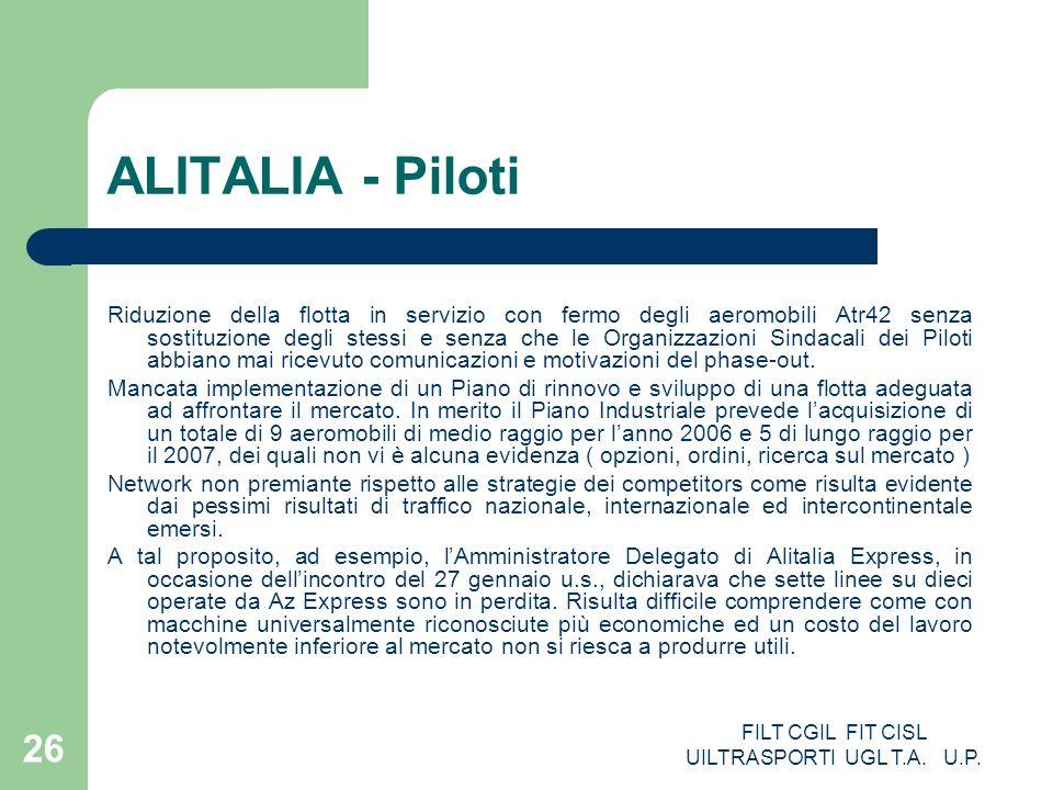 FILT CGIL FIT CISL UILTRASPORTI UGL T.A. U.P. 26 ALITALIA - Piloti Riduzione della flotta in servizio con fermo degli aeromobili Atr42 senza sostituzi