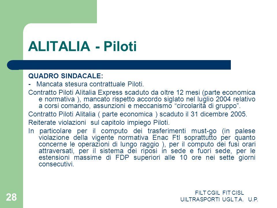 FILT CGIL FIT CISL UILTRASPORTI UGL T.A. U.P. 28 ALITALIA - Piloti QUADRO SINDACALE: - Mancata stesura contrattuale Piloti. Contratto Piloti Alitalia