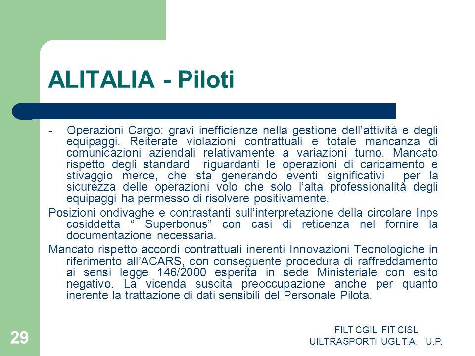 FILT CGIL FIT CISL UILTRASPORTI UGL T.A. U.P. 29 ALITALIA - Piloti - Operazioni Cargo: gravi inefficienze nella gestione dellattività e degli equipagg