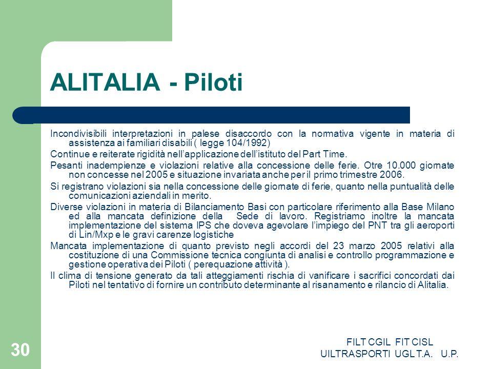 FILT CGIL FIT CISL UILTRASPORTI UGL T.A. U.P. 30 ALITALIA - Piloti Incondivisibili interpretazioni in palese disaccordo con la normativa vigente in ma
